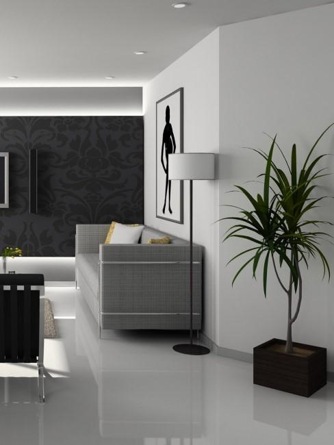 salon moderno gris claro y oscuro