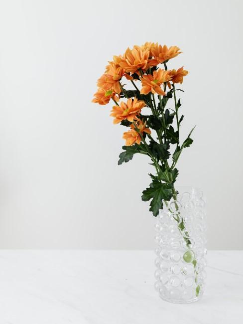 flores naranjas en jarron transparente