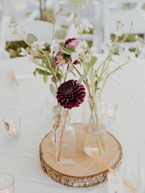 Jarrón con flores boda