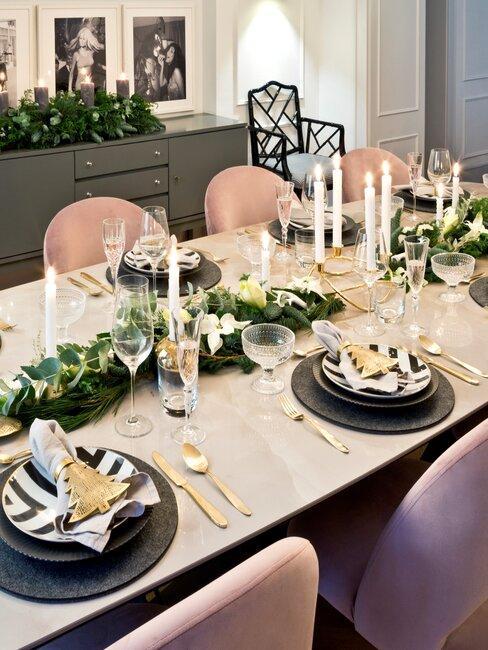mesa de navidad sillas rosas