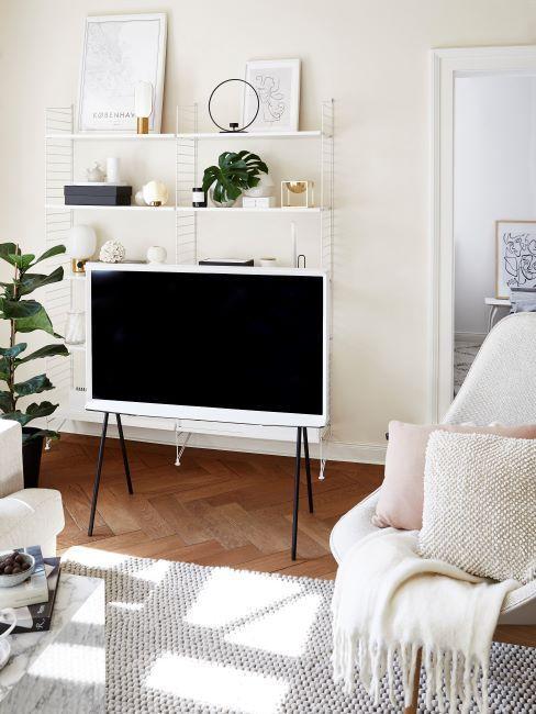 television, tv, ecran LCD, salon decoration blanc pastel