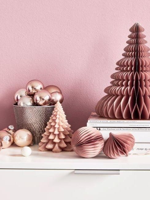 decorations de noel, boules de noel, origami, cuivree, terre cuite, terracotta