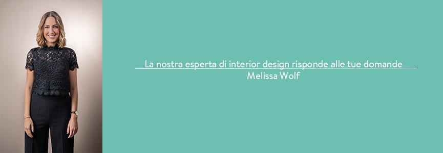 Banner Melissa Wolf interior designer risponde alle vostre domande