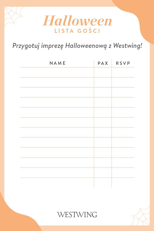 Lista gości przygotowana przez Westwing na imprezę Halloween