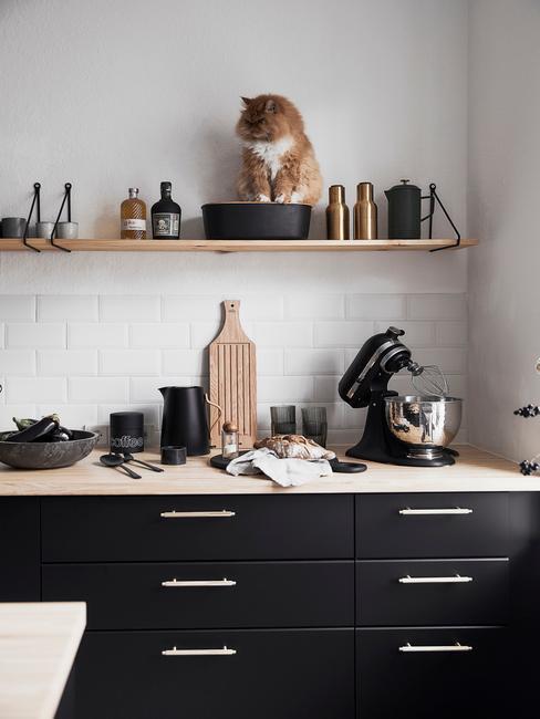 Kuchnia w stylu industrialnym z czarnymi szafkami, białymi płytkami oraz półką na któej siedzi kot