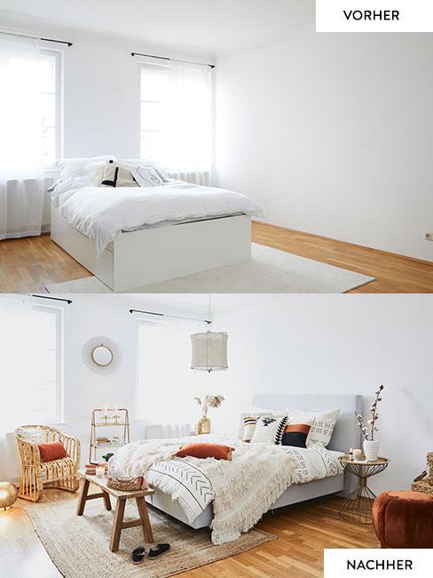 Vorher und Nachher Bild vom Boho Schlafzimmer Umstyling