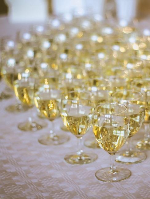 Viele Gläser gefüllt mit Sekt auf einem Tisch