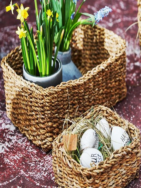 Teppichboden in einem Treppenhaus mit zwei Osterkörben gefüllt mit Eiern, Gras und Blumen