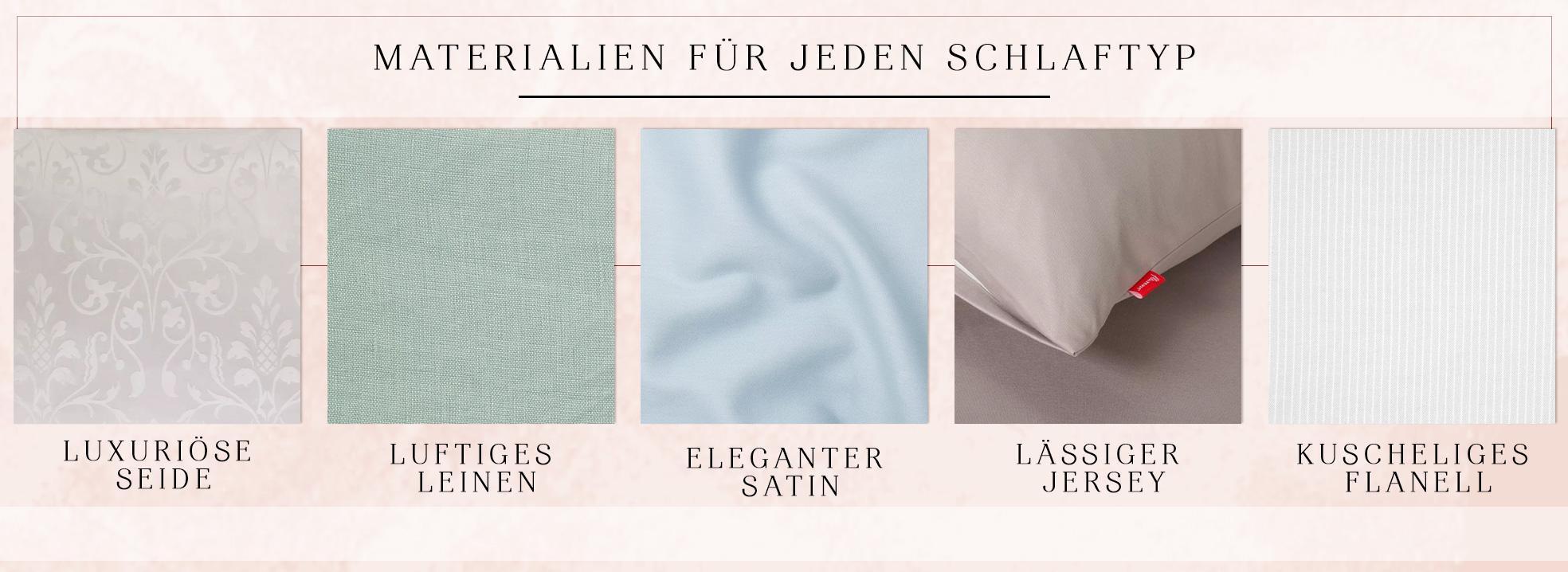 Infografik zu den verschiedenen Bettwäsche Materialien je nach Schlaftyp
