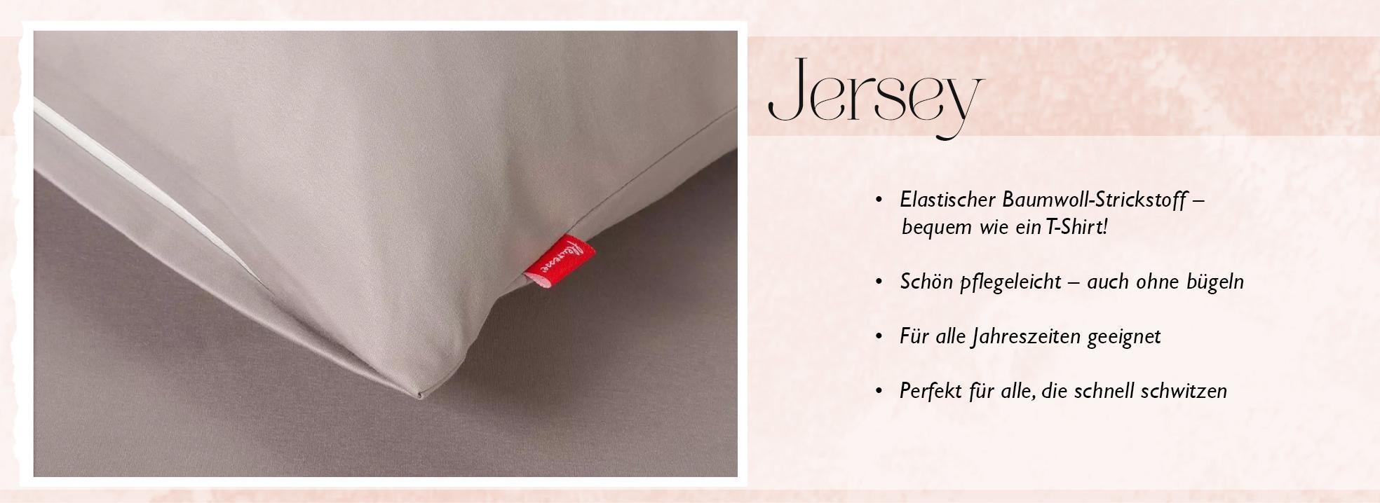 Infografik zu den Eigenschaften von Jersey Bettwäsche