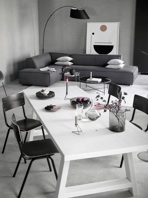 Tischdeko Schwarz-Weiß Grau