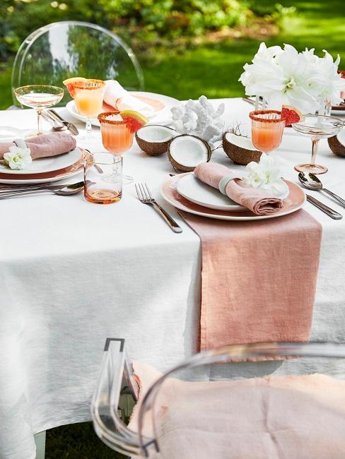 Tischdeko Sommer rosa Cocosnuss