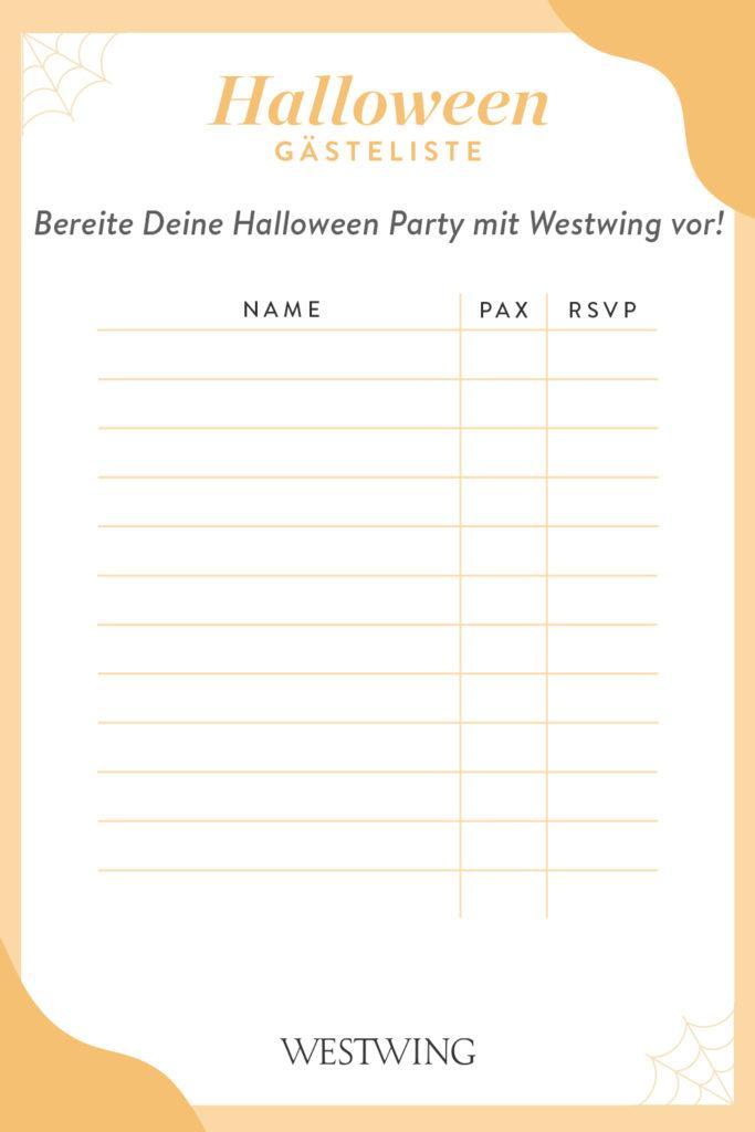Halloween Gästeliste zum downloaden