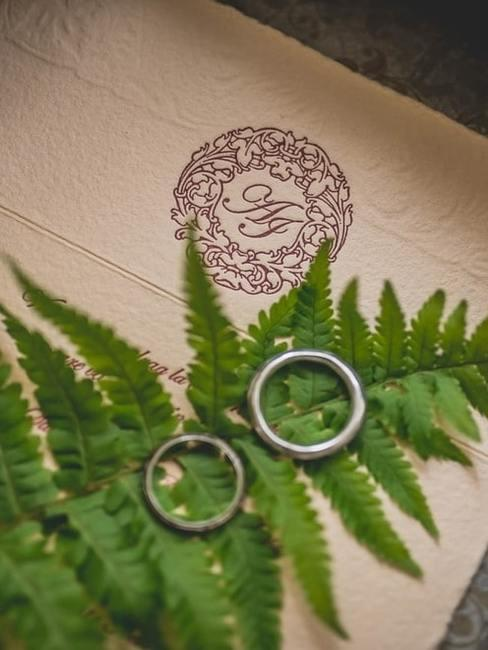 Zaproszenie ślubne z leżącą paprocią i dwiema obrączkami