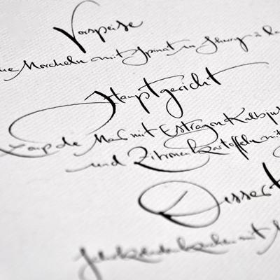 Jeannine Platz Kalligraphie genaues Menü