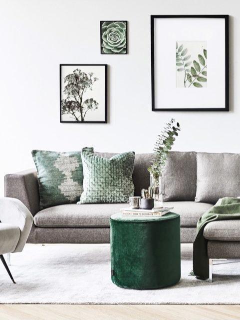 Salón con pared decorada con cuadros con plantas y sofá gris con motivos decorativos en tonos verdes
