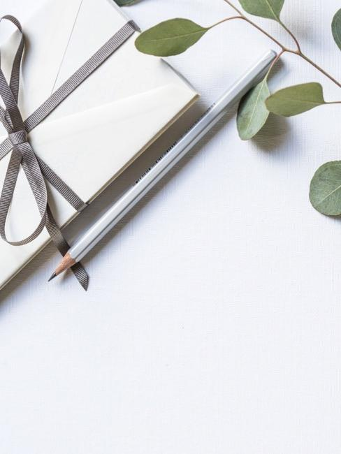 Tarjeta de invitación de boda en color beige con lazo gris y hojas de eucalipto
