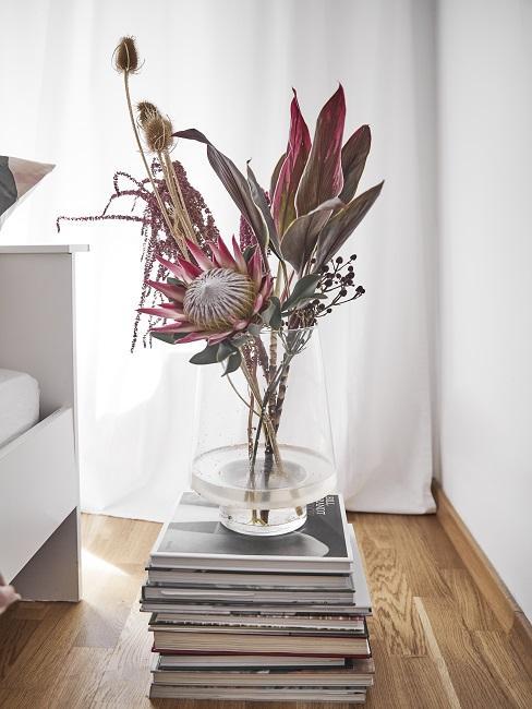 Protea Pflanze als Tischdeko auf Büchern