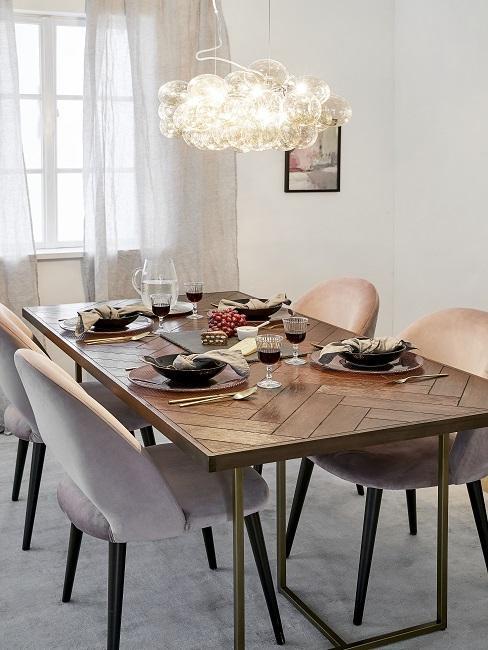 Designer Esszimmer rosa Stühle