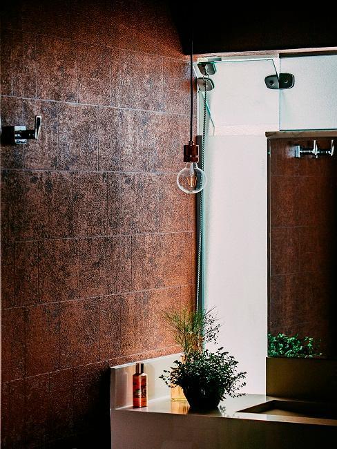 Braune Badezimmerwand