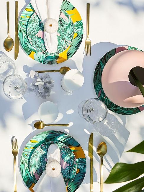 Tischdeko Grün Sommer Tropical Geschirr