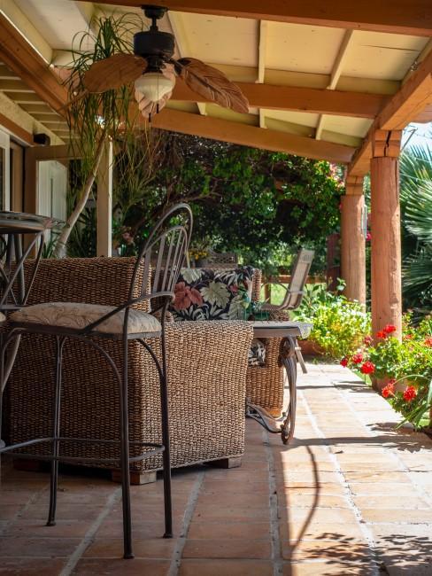 terraza en jardín