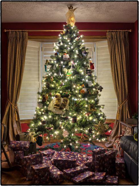 Grand sapin de Noël illuminé