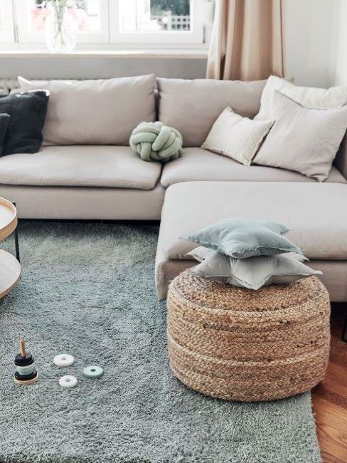 soggiorno azurro e grigio