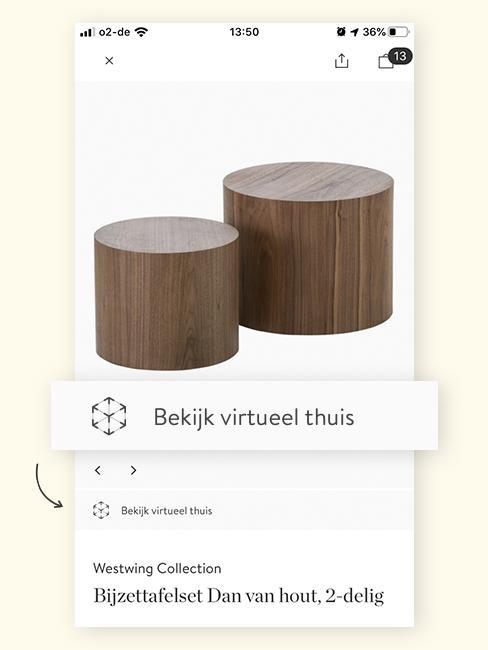Augmented Reality bruine salontafels