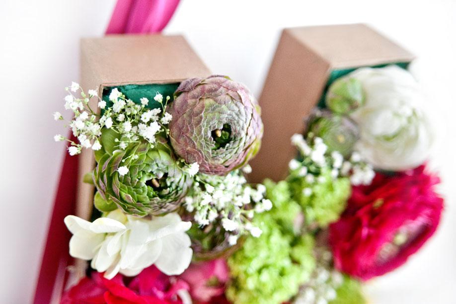 Nahaufnahme eines floralen Buchstabens