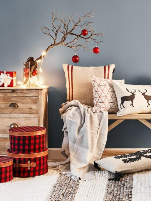 Christmas deer decoration in beige and red