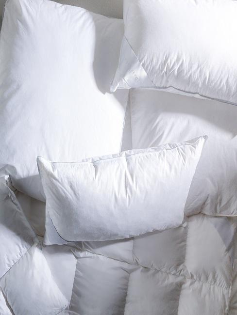 Kopfkissen und Bettdecken in Weiß