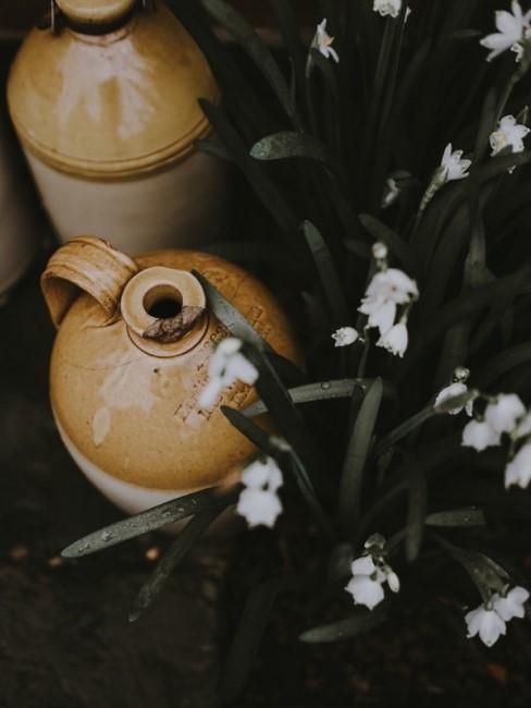 Schneeglöckchen neben brauner Vase Winterblumen