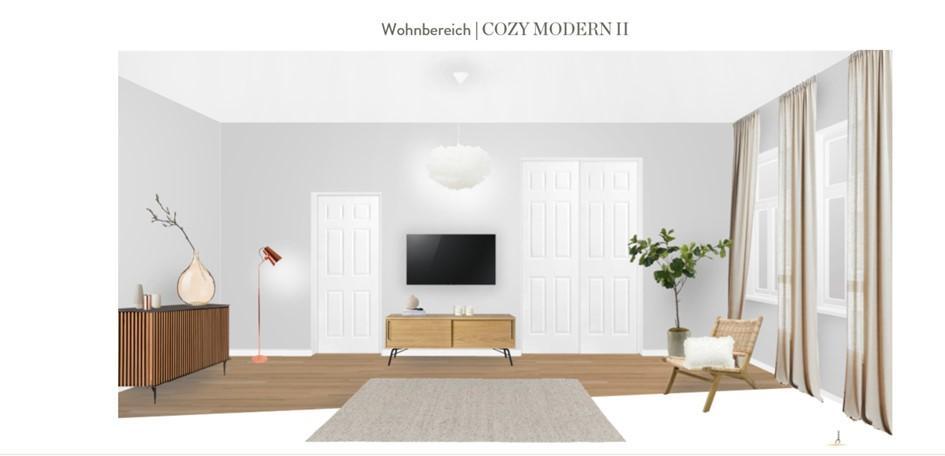 Wohnzimmer neu gestalten Rattansessel andere Raumseite