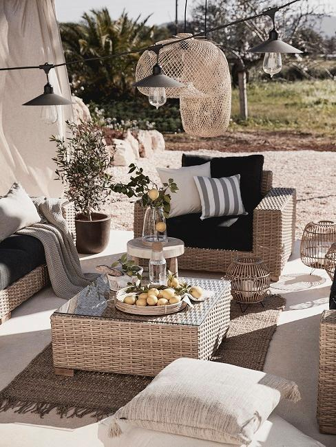 Outdoor Dining Lounge Teppich Sessel Bank