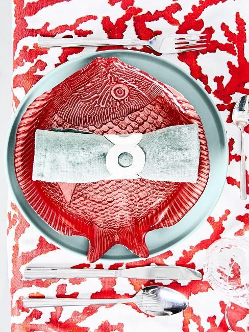 Maritime Tischdeko Rot Koralle Fisch