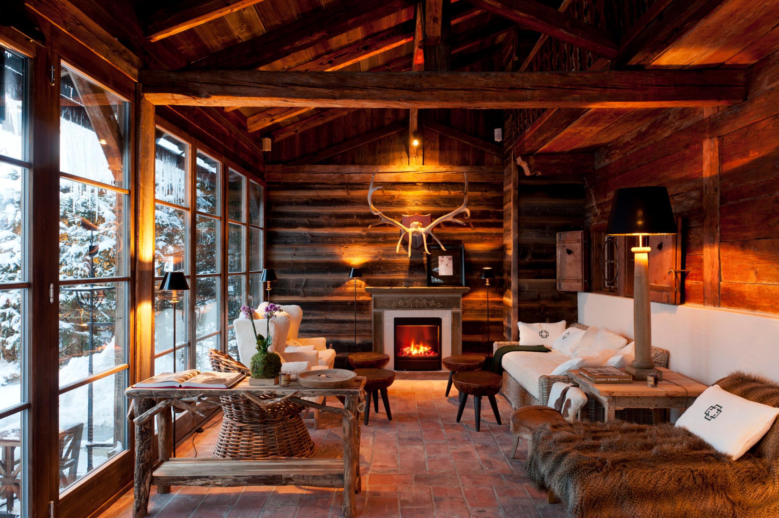 Wachtelhof Luxus Chalet Stil Lounge Spa