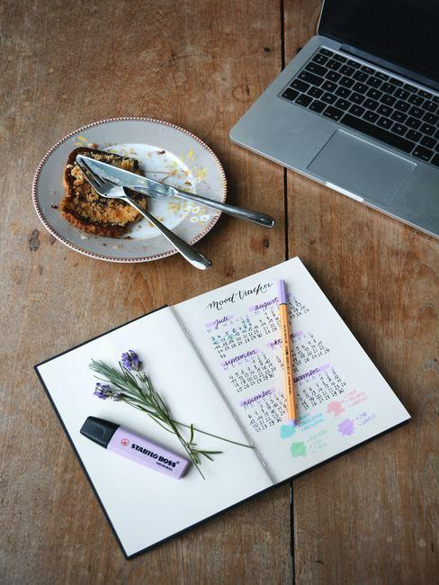 Escritorio con ordenador portátil, cuadero con una lista de preparativos y porción de tarta