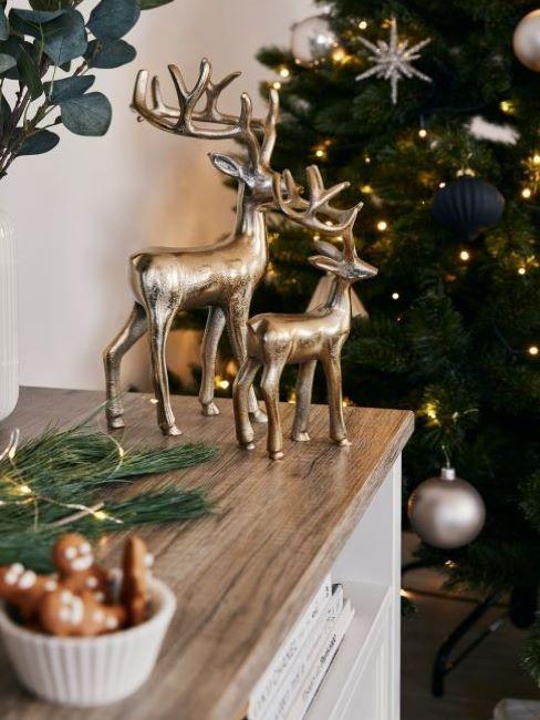 decoración con ciervos dorados