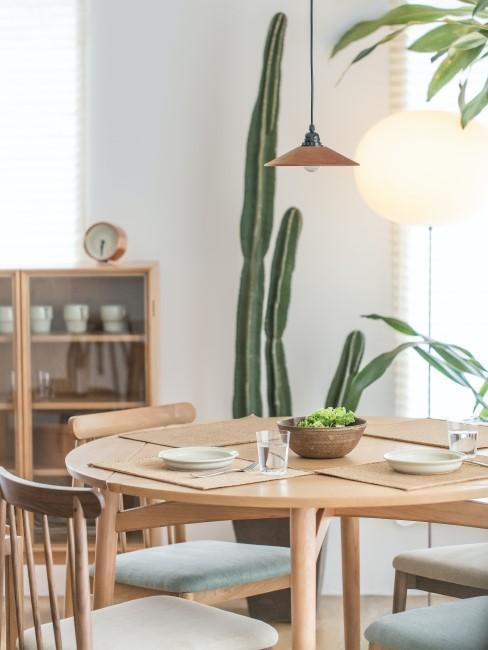 comedor con una mesa redonda y un cactus de fondo