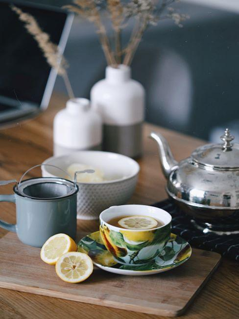 table feng shui, the, theiere, tasse a the avec citron