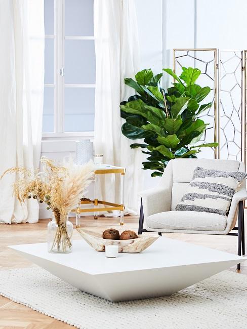 salon couleurs claires, table basse blanche, elements deco accents dores, laitonnes, fauteuil large blanc, rideaux blancs, plantes grandes feuilles vertes