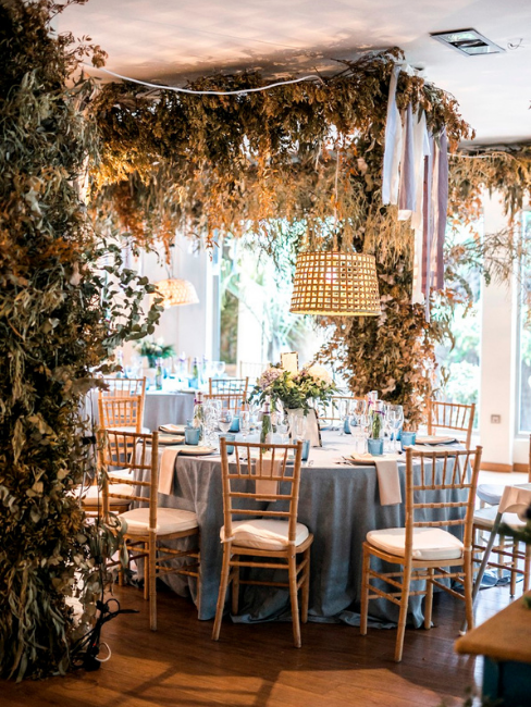 table ronde de mariage dans un décor champêtre