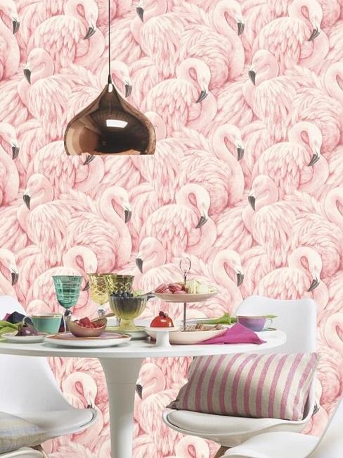 papier peint flamingo rose suspension doree