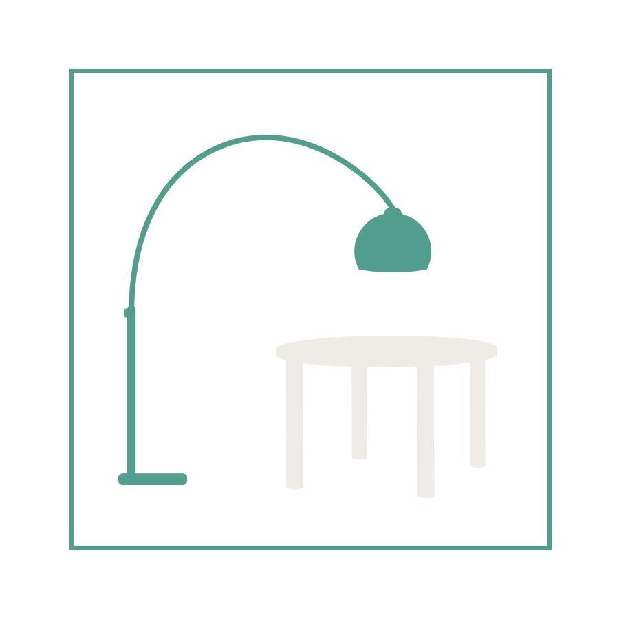 dessin d'une lampe en arc au dessus d'une table ronde