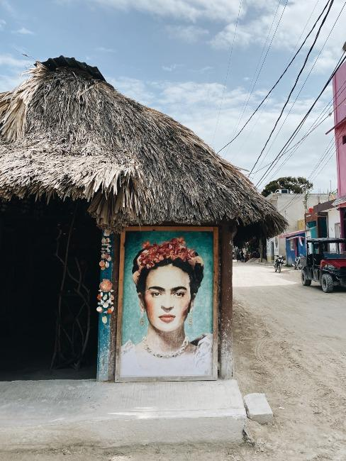 Dessin de Frida Kahlo sur mur