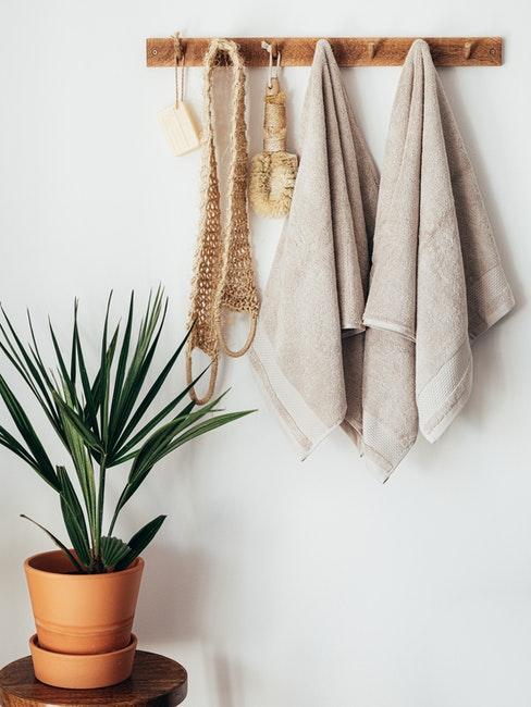 serviettes de toilette beiges, accessoires de bain en matière naturelle, minimalisme, plante vert de salle de bain