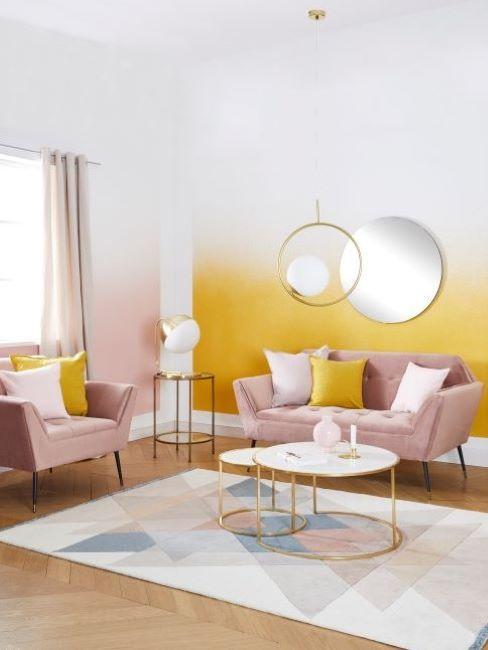 abbinamento colori pareti giallo e rosa