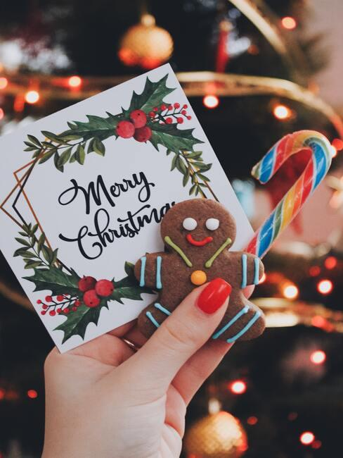 Kerstwenskaart met lolly