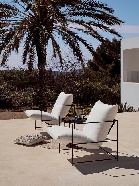 Moderne tuin met twee Westwing stoelen op zandkleurige vloer met palmboom op achtergrond